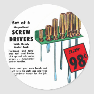 Vintage Kitsch Hardware Tools Screwdrivers Ad Classic Round Sticker
