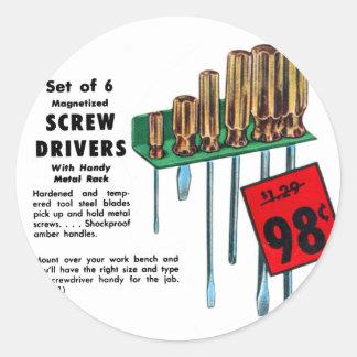 Vintage Kitsch Hardware Tools Screwdrivers Ad Sticker