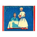 Vintage Kitsch Home Cooking 30s Matchbook Postcard