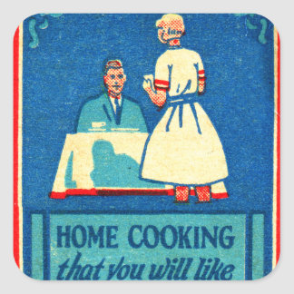 Vintage Kitsch Home Cooking 30s Matchbook Square Sticker