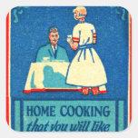 Vintage Kitsch Home Cooking 30s Matchbook Square Sticker