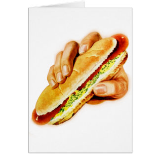 Vintage Kitsch Hot Dog with Relish Card