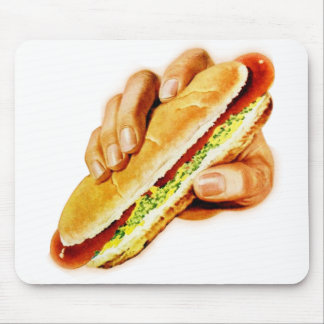 Vintage Kitsch Hot Dog with Relish Mouse Pad