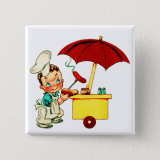 Vintage Kitsch Hot Dogs Hot Dog Cart Man Button