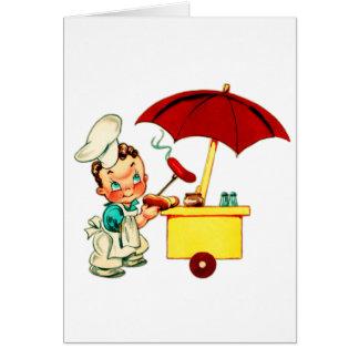 Vintage Kitsch Hot Dogs Hot Dog Cart Man Card