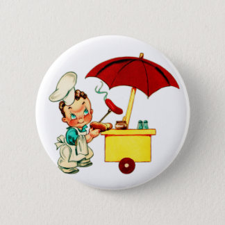 Vintage Kitsch Hot Dogs Hot Dog Cart Man Pinback Button