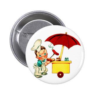 Vintage Kitsch Hot Dogs Hot Dog Cart Man Pinback Button
