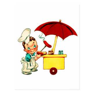 Vintage Kitsch Hot Dogs Hot Dog Cart Man Postcard