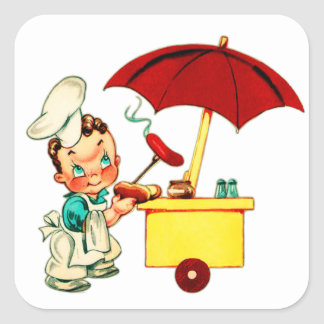 Vintage Kitsch Hot Dogs Hot Dog Cart Man Square Sticker