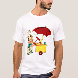Vintage Kitsch Hot Dogs Hot Dog Cart Man T-Shirt