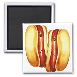 Vintage Kitsch Hot Dogs in Lover Hotdog Lovers 2 Inch Square Magnet