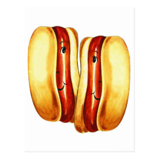 Vintage Kitsch Hot Dogs in Lover Hotdog Lovers Postcard