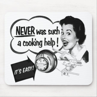 Vintage Kitsch Housewife Stove Ad The Potwatcher Mouse Pad