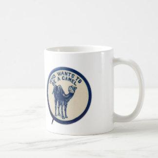 Vintage Kitsch Joke Button Who Wants to Be A Camel Coffee Mug