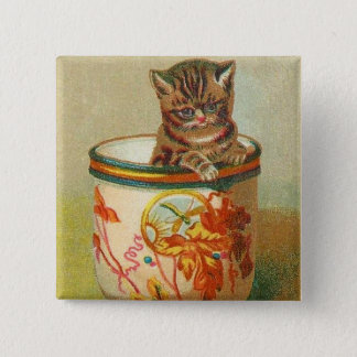 Vintage Kitsch Kitten in a Teacup Trade Card Cats Pinback Button