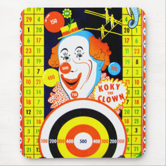 Vintage Kitsch Koky The Clown Tin Toy Game Board Mouse Pad