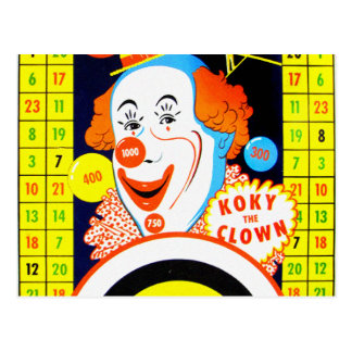 Vintage Kitsch Koky The Clown Tin Toy Game Board Postcard