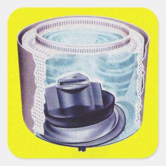 Vintage Kitsch Laundry Washing Machine Agitator Square Sticker