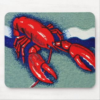Vintage Kitsch Lobster Lobsters Matchbook Art Mouse Pad