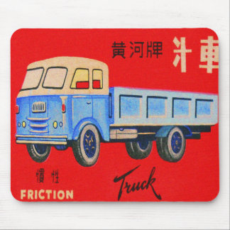 Vintage Kitsch Made in Japan Tin Toy Truck Box Art Mouse Pad