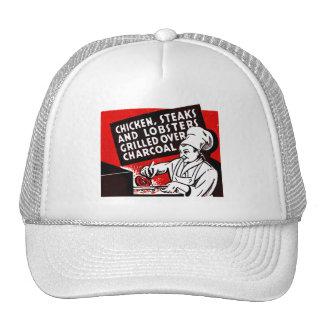 Vintage Kitsch Matchbook Chef Steaks Chicken Trucker Hat