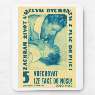 Vintage Kitsch Matchbook Czech Mouth to Mouth CPR Mouse Pad