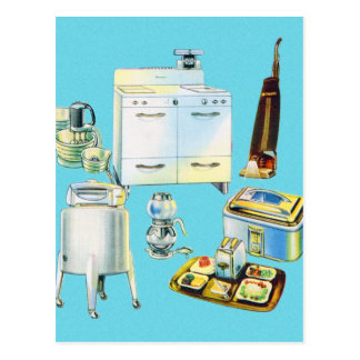 Vintage Kitsch Modern Household Appliances Postcard