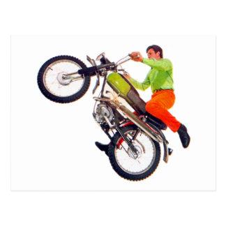 Vintage Kitsch Motor Bike Motorcycle Wheelie Postcard