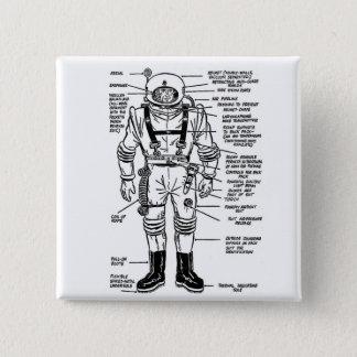 Vintage Kitsch Mr Spaceman Astronaut Illustration Button