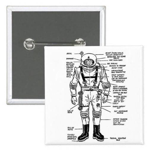 Vintage Kitsch Mr. Spaceman Astronaut Illustration Pinback Buttons