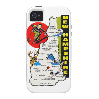 Vintage Kitsch New Hampshire State Travel Decal iPhone 4/4S Cases