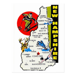 Vintage Kitsch New Hampshire State Travel Decal Postcard