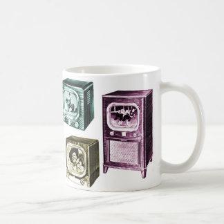 Vintage Kitsch Old B&W Television TV Sets Classic White Coffee Mug
