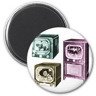 Vintage Kitsch Old B&W Television TV Sets Magnet