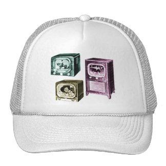 Vintage Kitsch Old B&W Television TV Sets Mesh Hat