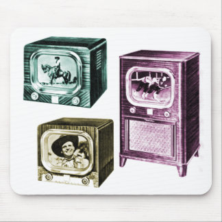 Vintage Kitsch Old B&W Television TV Sets Mouse Pad