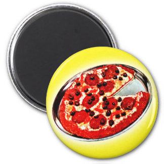 Vintage Kitsch Pepperoni Pizza Pie Illustration Magnet