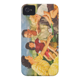 Vintage Kitsch Picnic Fifties Family Picnic iPhone 4 Case