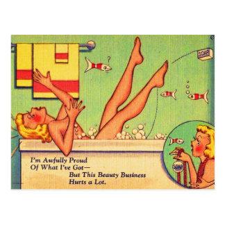 Vintage Kitsch Pin Up Cartoon Postcard