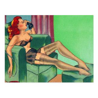 Vintage Kitsch Pin Up Cartoon Postcard Girl