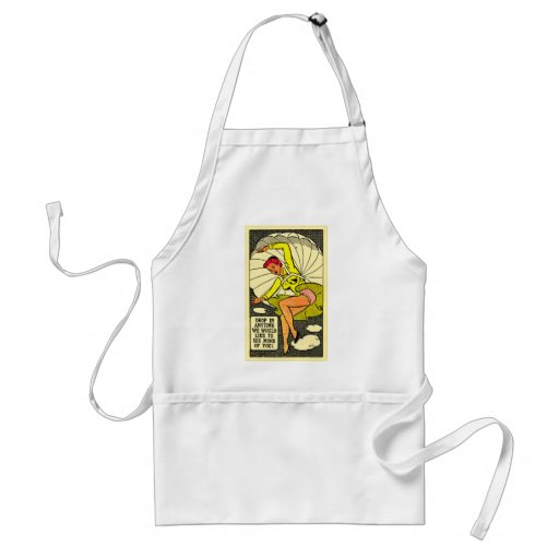 Vintage Kitsch Pin Up Gag Postcard Parachute Girl Adult Apron