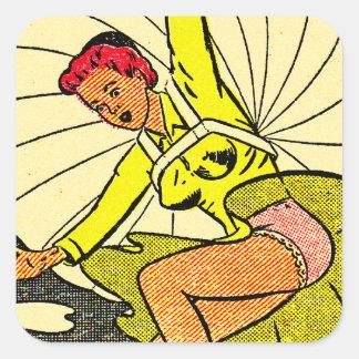 Vintage Kitsch Pin Up Gag Postcard Parachute Girl Square Sticker