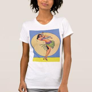 Vintage Kitsch Pin Up Hula Dancing Girl T Shirts