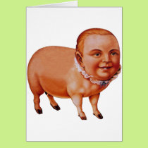 Vintage Kitsch Pork Pig The Pig Boy Circus Freak Card