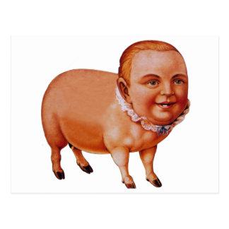 Vintage Kitsch Pork Pig The Pig Boy Circus Freak Postcard
