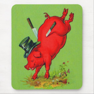Vintage Kitsch Pork Stuck Pig With Knives Ad Mouse Pad