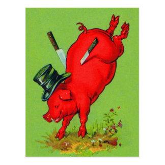 Vintage Kitsch Pork Stuck Pig With Knives Ad Postcard