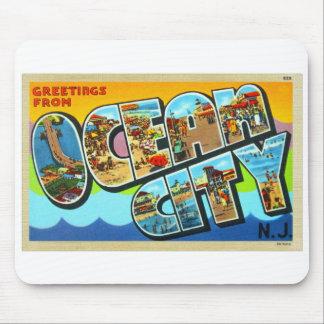 Vintage Kitsch Postcard Ocean City NJ New Jersey Mouse Pad