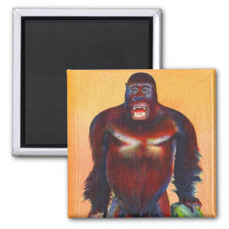 Vintage Kitsch Postcard Stuffed Gorillia Ape Odd Magnet