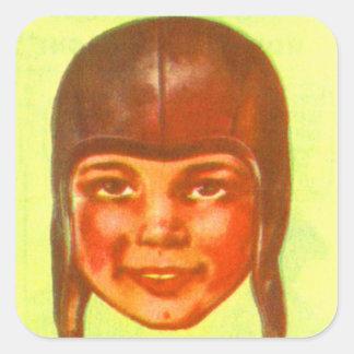 Vintage Kitsch Pulp Football Leatherette Helmet Square Sticker